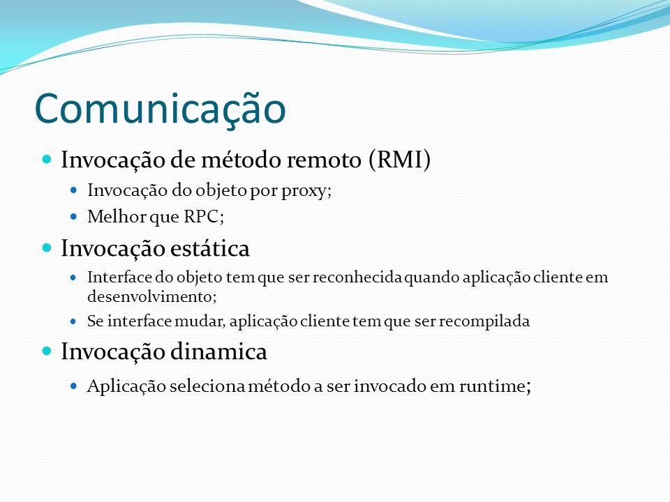 Invocação de método remoto (RMI) Invocação do objeto por proxy; Melhor que RPC; Invocação estática Interface do objeto tem que ser reconhecida quando