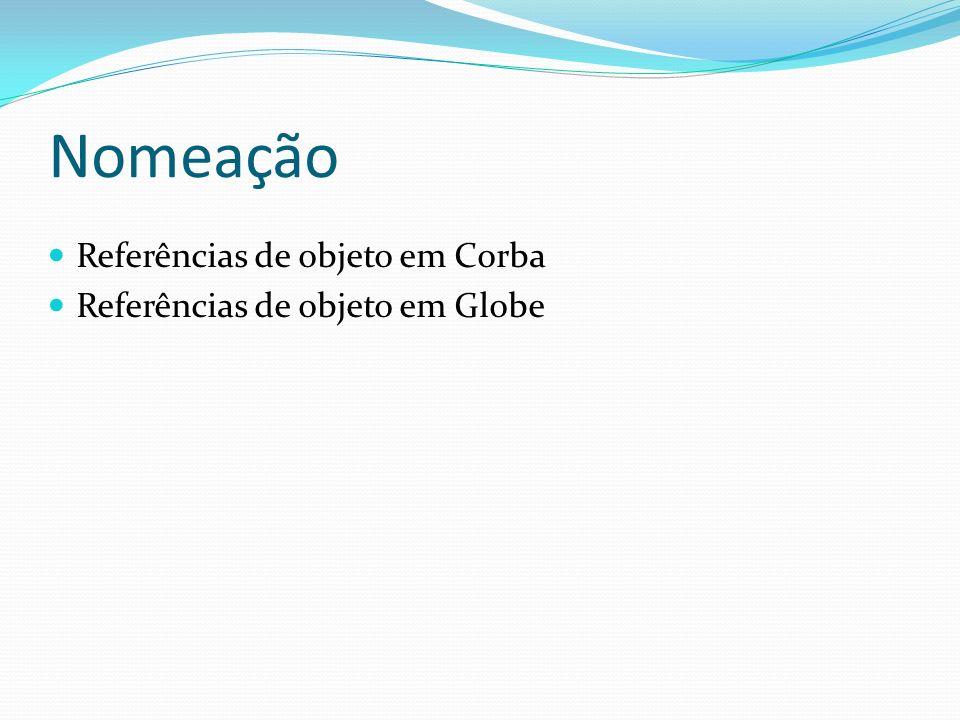 Nomeação Referências de objeto em Corba Referências de objeto em Globe