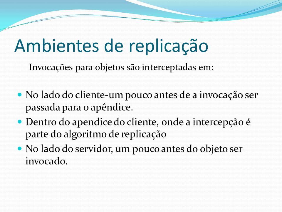 Ambientes de replicação Invocações para objetos são interceptadas em: No lado do cliente-um pouco antes de a invocação ser passada para o apêndice. De