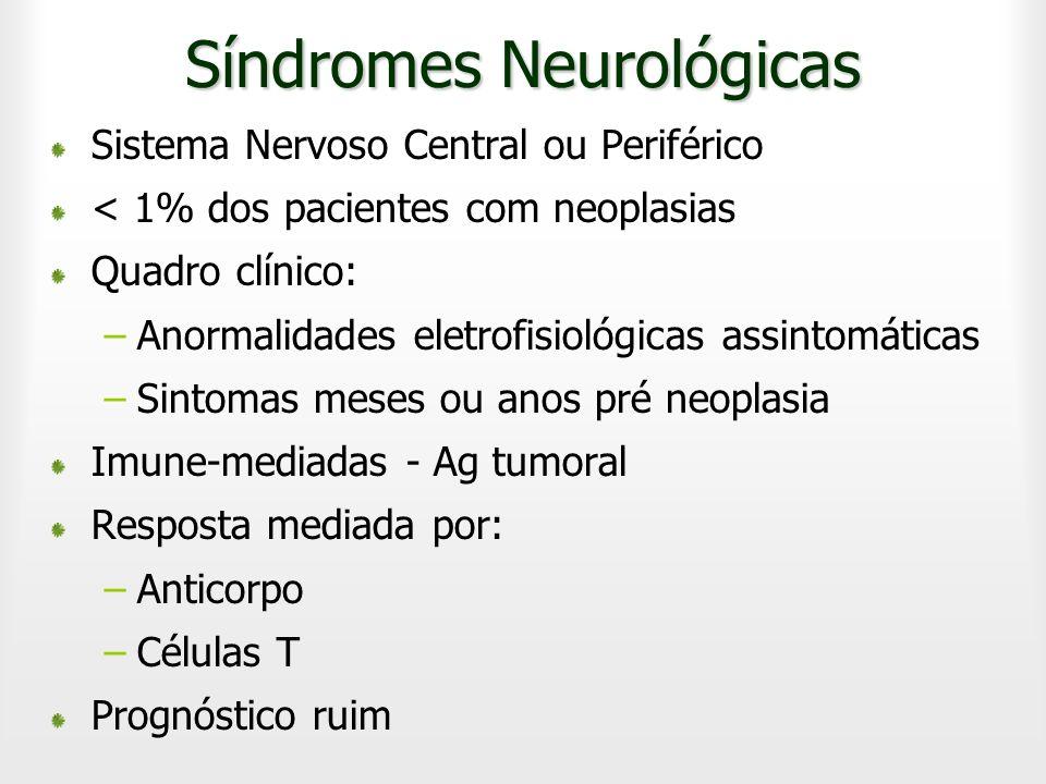 Sistema Nervoso Central ou Periférico < 1% dos pacientes com neoplasias Quadro clínico: –Anormalidades eletrofisiológicas assintomáticas –Sintomas mes