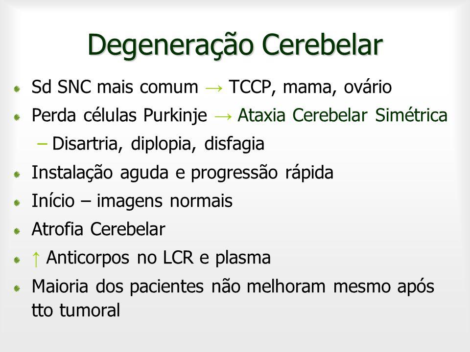 Degeneração Cerebelar Sd SNC mais comum TCCP, mama, ovário Perda células Purkinje Ataxia Cerebelar Simétrica –Disartria, diplopia, disfagia Instalação