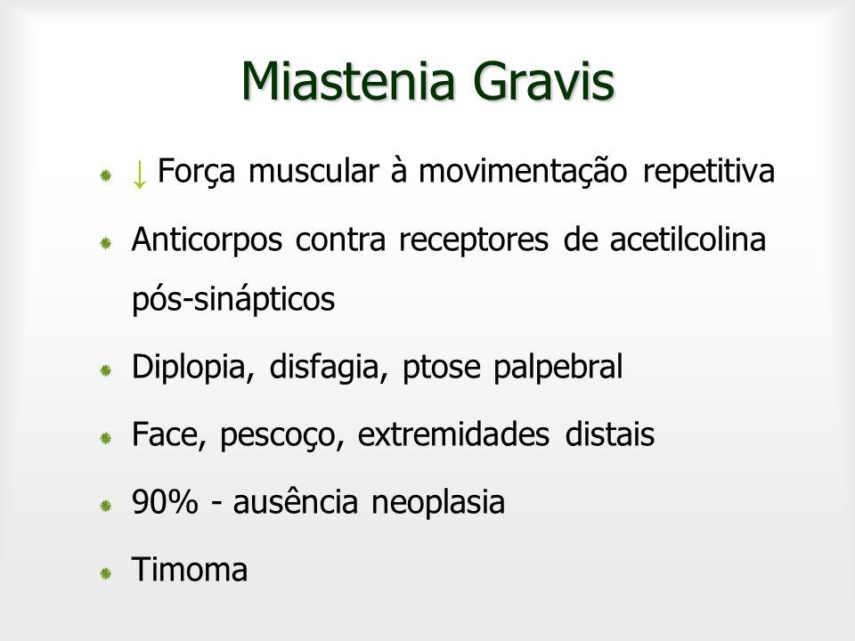 Miastenia Gravis Força muscular à movimentação repetitiva Anticorpos contra receptores de acetilcolina pós-sinápticos Diplopia, disfagia, ptose palpeb
