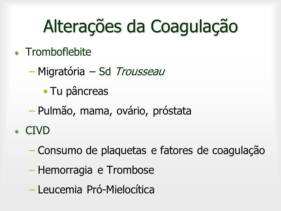 Alterações da Coagulação Tromboflebite –Migratória – Sd Trousseau Tu pâncreas –Pulmão, mama, ovário, próstata CIVD –Consumo de plaquetas e fatores de