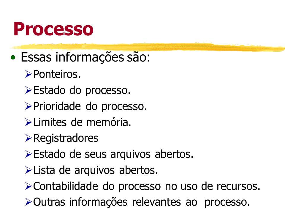 Processo Essas informações são: Ponteiros. Estado do processo. Prioridade do processo. Limites de memória. Registradores Estado de seus arquivos abert