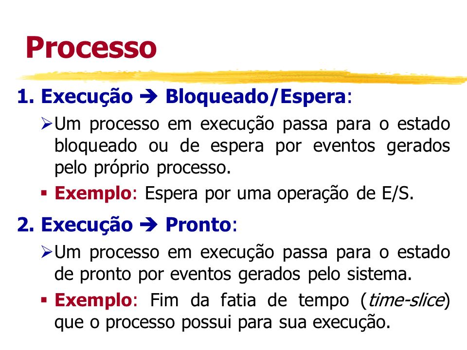 Processo 1. Execução Bloqueado/Espera: Um processo em execução passa para o estado bloqueado ou de espera por eventos gerados pelo próprio processo. E