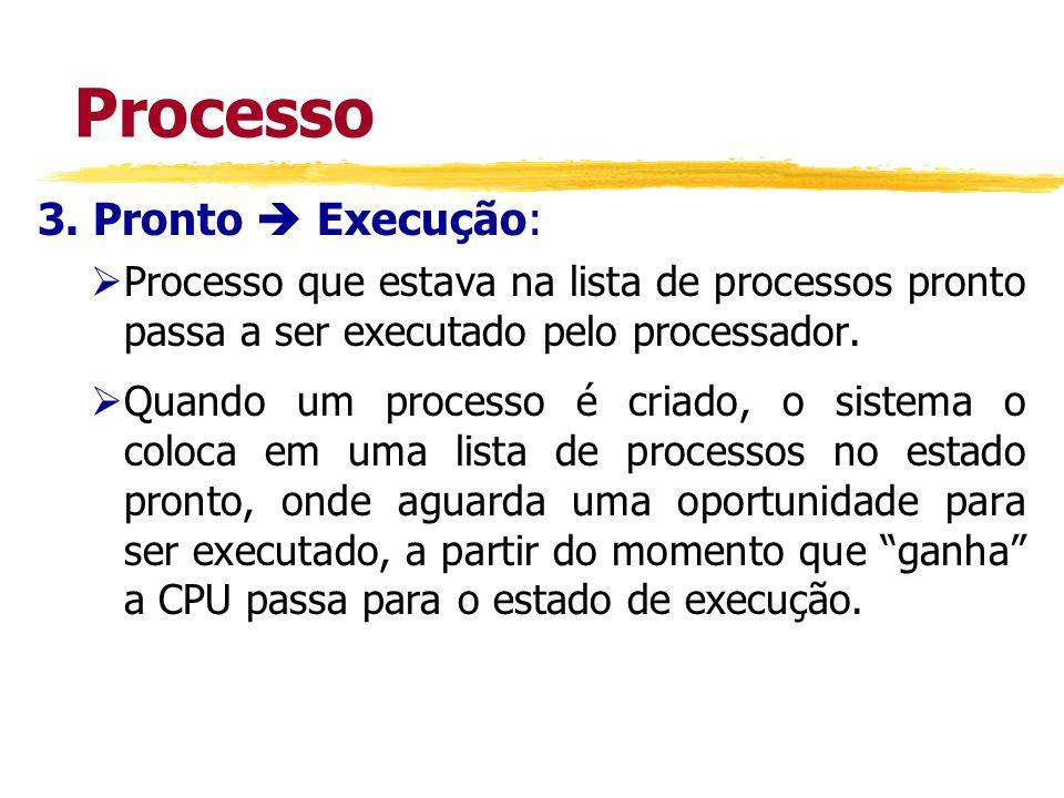 Processo 3. Pronto Execução: Processo que estava na lista de processos pronto passa a ser executado pelo processador. Quando um processo é criado, o s