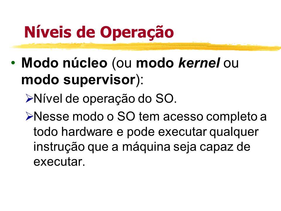 Níveis de Operação Modo núcleo (ou modo kernel ou modo supervisor): Nível de operação do SO. Nesse modo o SO tem acesso completo a todo hardware e pod