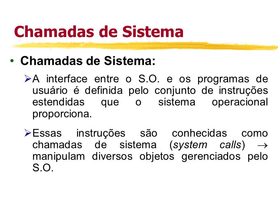 Chamadas de Sistema Chamadas de Sistema: Pode-se dizer que são métodos utilizados para que os programas de usuários solicitem serviços providos pelo sistema operacional.