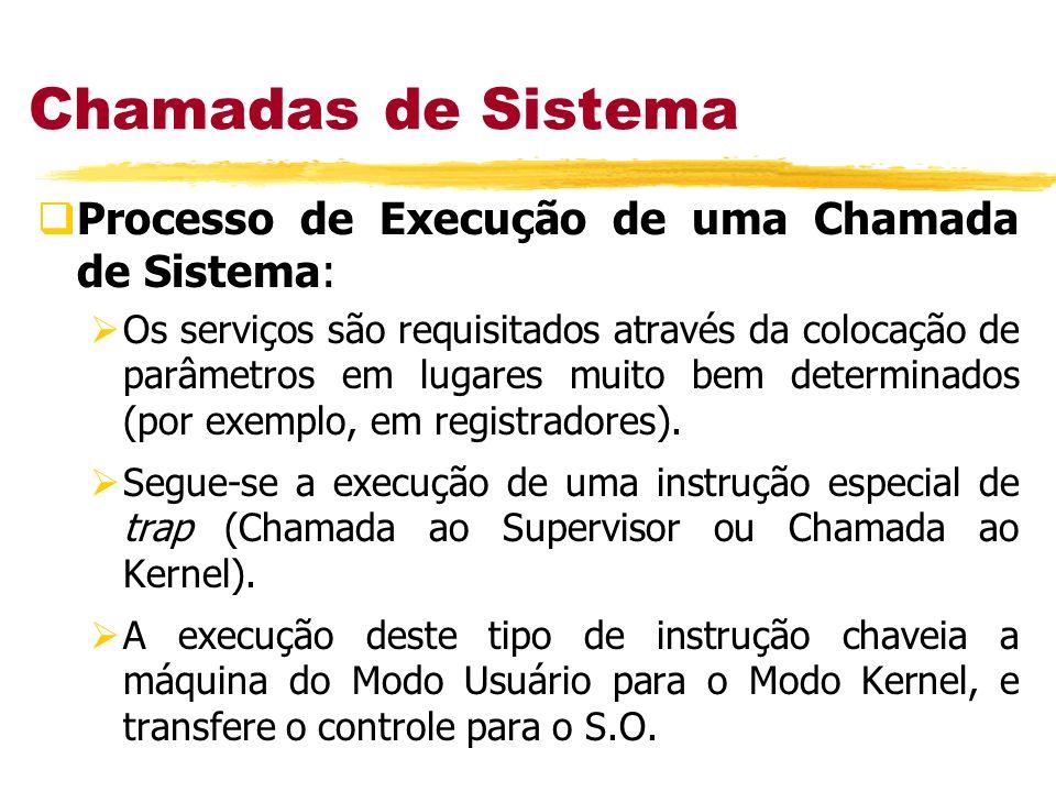 Chamadas de Sistema Processo de Execução de uma Chamada de Sistema: Os serviços são requisitados através da colocação de parâmetros em lugares muito b