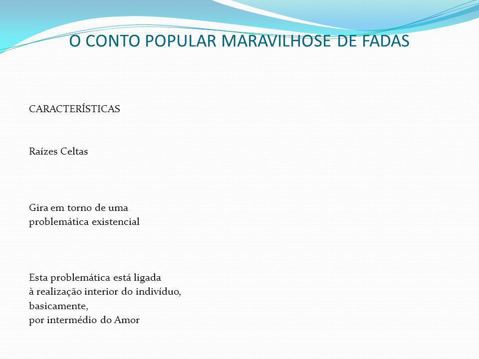 O CONTO POPULAR MARAVILHOSE DE FADAS CARACTERÍSTICAS Raízes Celtas Gira em torno de uma problemática existencial Esta problemática está ligada à reali