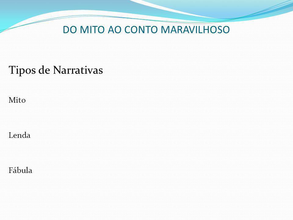 DO MITO AO CONTO MARAVILHOSO Tipos de Narrativas Mito Lenda Fábula
