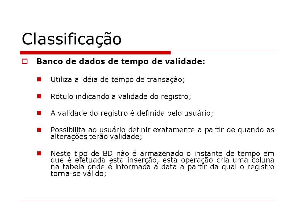 Classificação Banco de dados de tempo de validade: Utiliza a idéia de tempo de transação; Rótulo indicando a validade do registro; A validade do regis