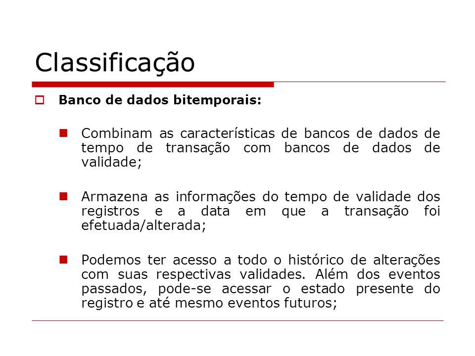 Classificação Banco de dados bitemporais: Combinam as características de bancos de dados de tempo de transação com bancos de dados de validade; Armaze