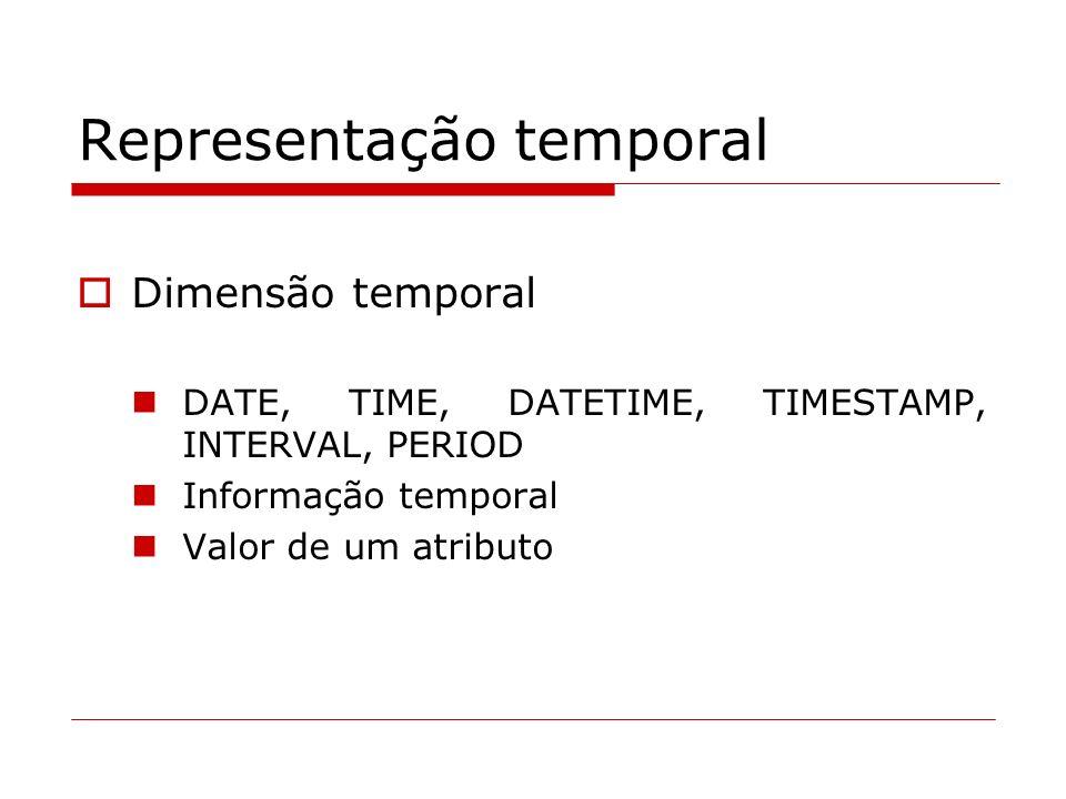 Representação temporal Dimensão temporal DATE, TIME, DATETIME, TIMESTAMP, INTERVAL, PERIOD Informação temporal Valor de um atributo