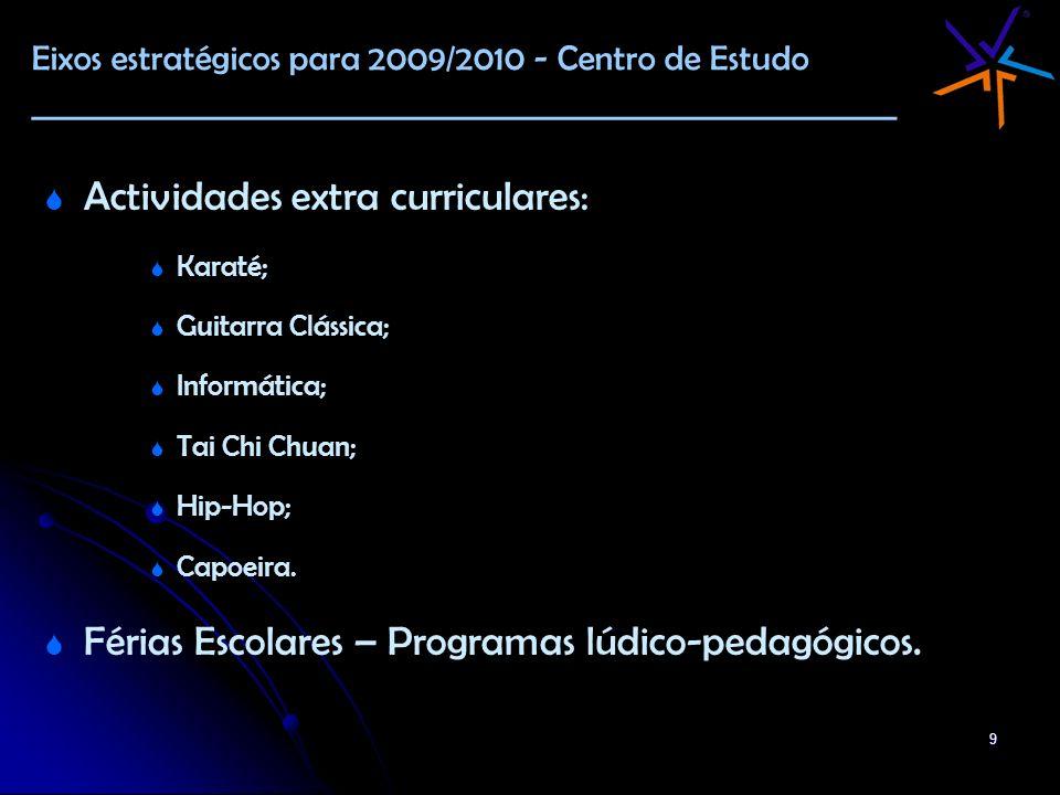 9 Actividades extra curriculares: Karaté; Guitarra Clássica; Informática; Tai Chi Chuan; Hip-Hop; Capoeira. Férias Escolares – Programas lúdico-pedagó