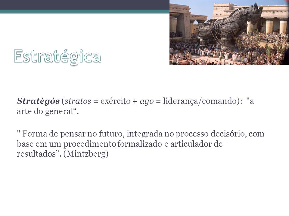 Stratègós (stratos = exército + ago = liderança/comando):