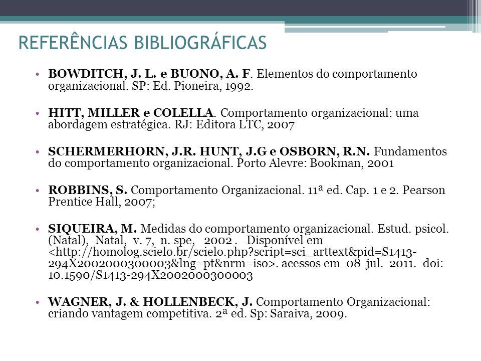 REFERÊNCIAS BIBLIOGRÁFICAS BOWDITCH, J. L. e BUONO, A. F. Elementos do comportamento organizacional. SP: Ed. Pioneira, 1992. HITT, MILLER e COLELLA. C