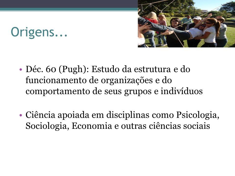 Origens... Déc. 60 (Pugh): Estudo da estrutura e do funcionamento de organizações e do comportamento de seus grupos e indivíduos Ciência apoiada em di