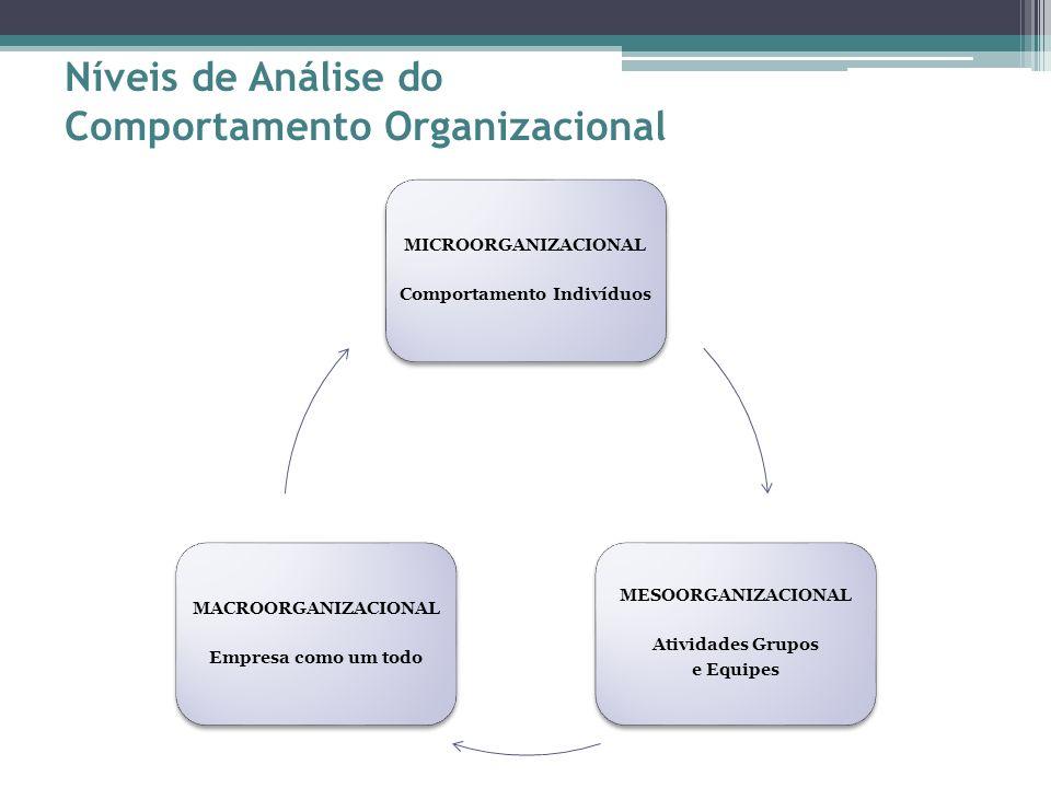 Níveis de Análise do Comportamento Organizacional MICROORGANIZACIONAL Comportamento Indivíduos MESOORGANIZACIONAL Atividades Grupos e Equipes MACROORG