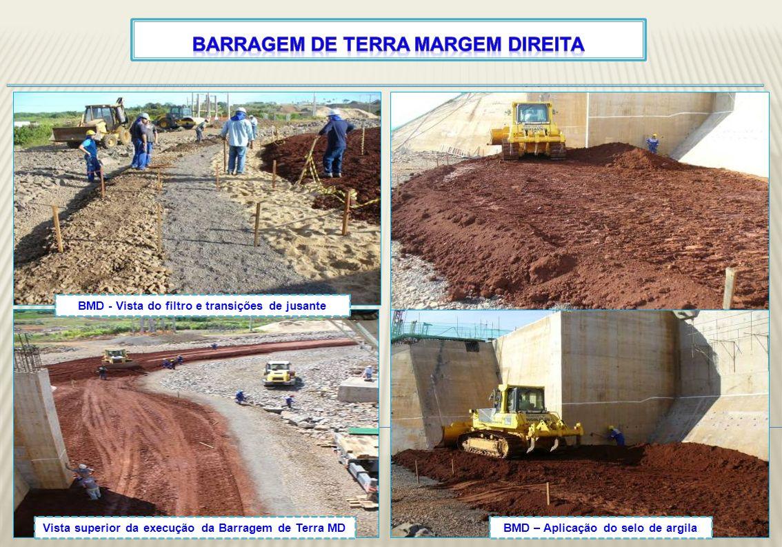 Vista superior da execução da Barragem de Terra MD BMD - Vista do filtro e transições de jusante BMD – Aplicação do selo de argila