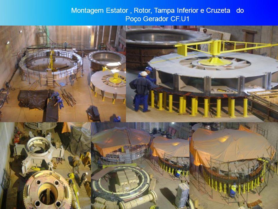 Montagem Estator, Rotor, Tampa Inferior e Cruzeta do Poço Gerador CF.U1