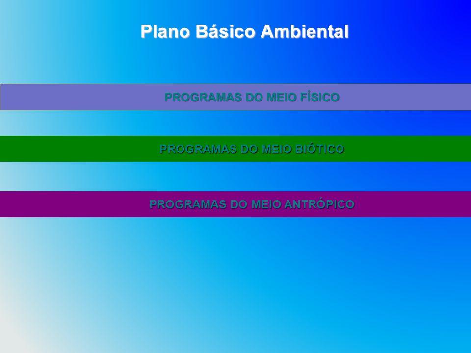 PROGRAMAS DO MEIO FÍSICO PROGRAMAS DO MEIO BIÓTICO PROGRAMAS DO MEIO ANTRÓPICO Plano Básico Ambiental Plano Básico Ambiental