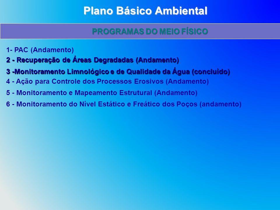 1- PAC (Andamento) 2 - Recuperação de Áreas Degradadas (Andamento) 3 -Monitoramento Limnológico e de Qualidade da Água (concluído) 4 - Ação para Contr