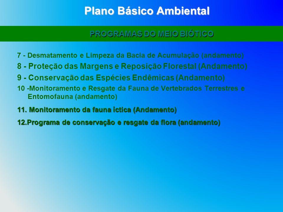 7 - Desmatamento e Limpeza da Bacia de Acumulação (andamento) 8 - Proteção das Margens e Reposição Florestal (Andamento) 9 - Conservação das Espécies