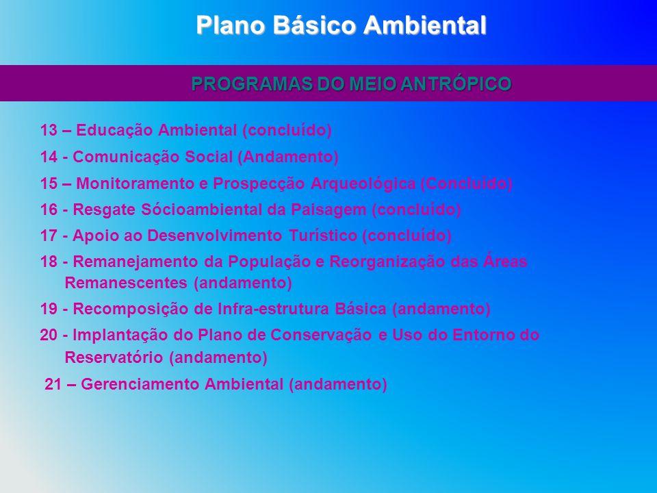 13 – Educação Ambiental (concluído) 14 - Comunicação Social (Andamento) 15 – Monitoramento e Prospecção Arqueológica (Concluído) 16 - Resgate Sócioamb