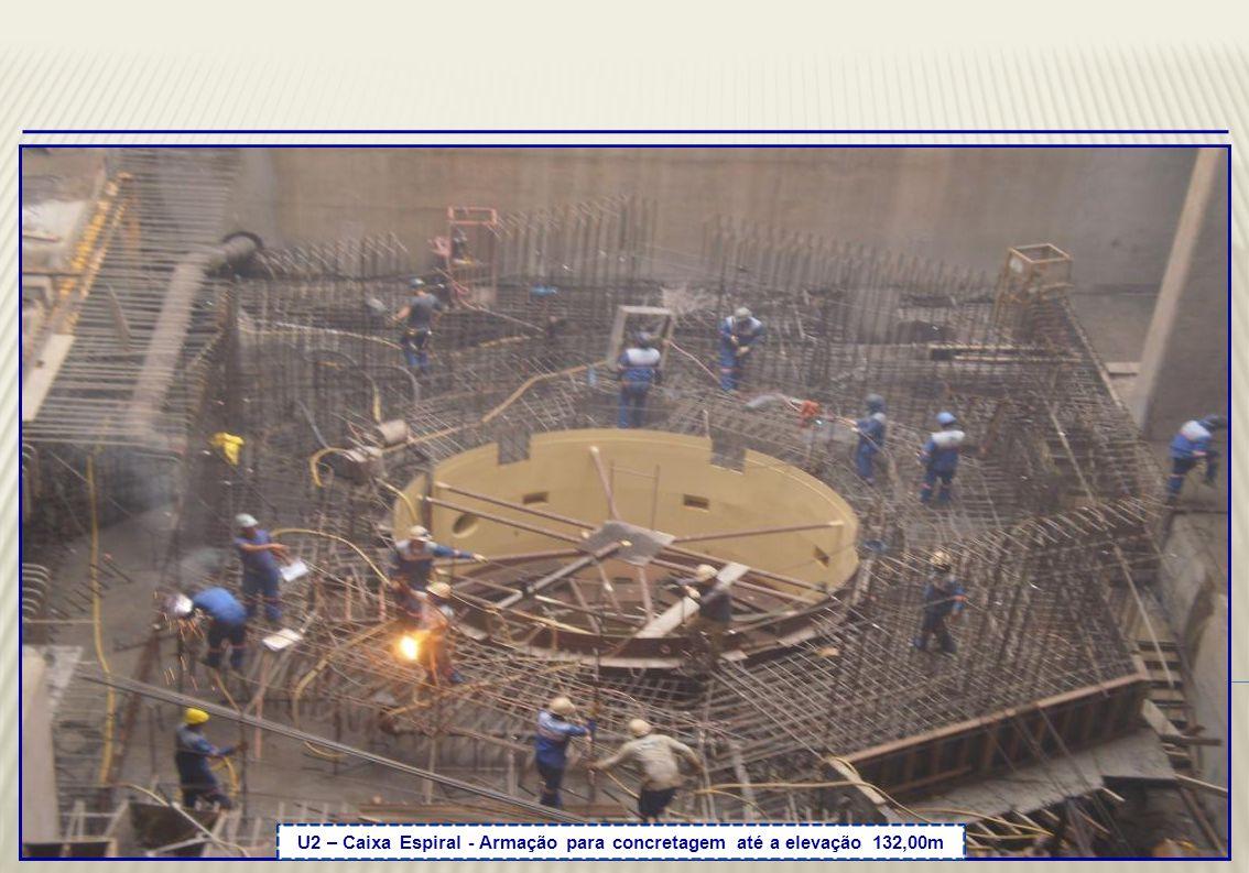U2 – Caixa Espiral – Concluída a concretagem até elevação 132,00m