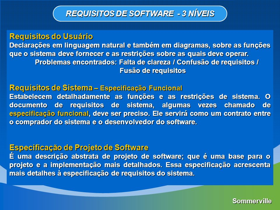 Requisitos Funcionais Descrevem as funções que o software deve executar.