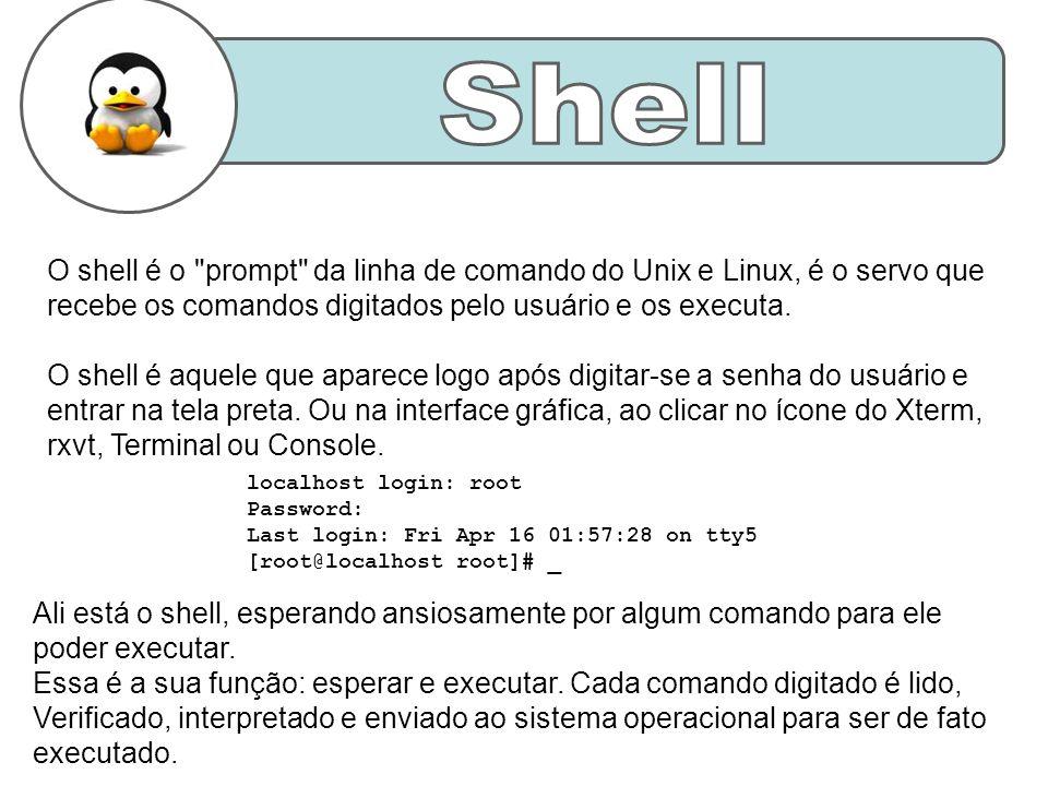 O shell é o prompt da linha de comando do Unix e Linux, é o servo que recebe os comandos digitados pelo usuário e os executa.