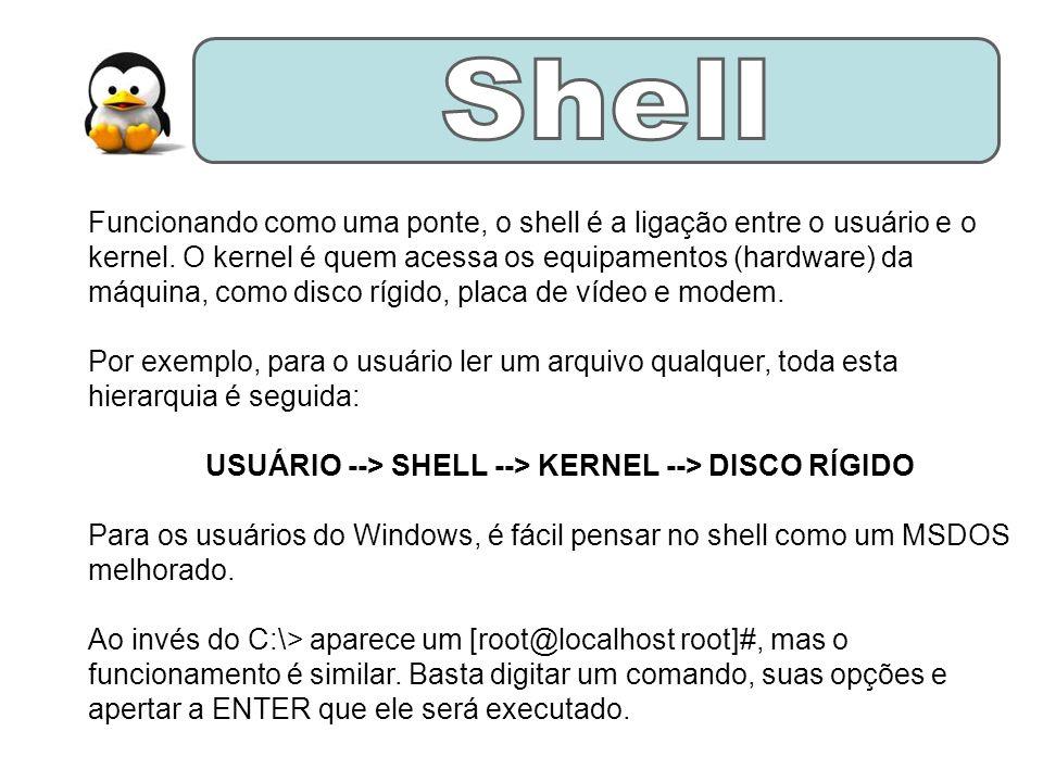 Funcionando como uma ponte, o shell é a ligação entre o usuário e o kernel.