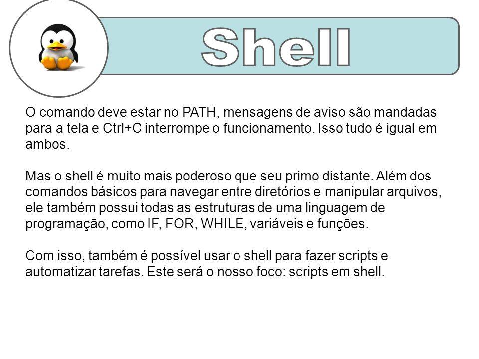 O comando deve estar no PATH, mensagens de aviso são mandadas para a tela e Ctrl+C interrompe o funcionamento.