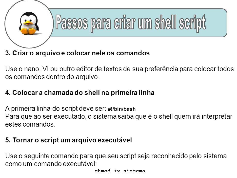 3. Criar o arquivo e colocar nele os comandos Use o nano, VI ou outro editor de textos de sua preferência para colocar todos os comandos dentro do arq