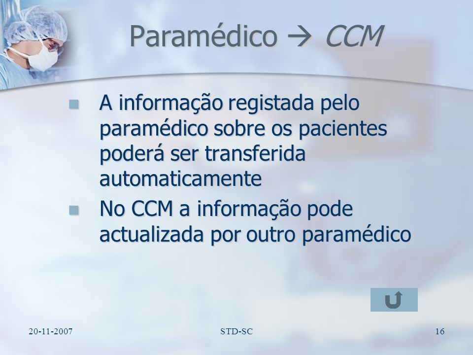 20-11-2007STD-SC17 CCM CA Informação é transferida do CCM para o CA Informação é transferida do CCM para o CA Informação pode ser actualizada pelos Médicos Informação pode ser actualizada pelos Médicos