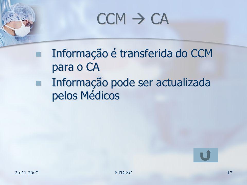 20-11-2007STD-SC18 CA CCC Sincronismo dos dados Sincronismo dos dados Processamento dos dados e construção de relatórios após o atendimento do paciente Processamento dos dados e construção de relatórios após o atendimento do paciente