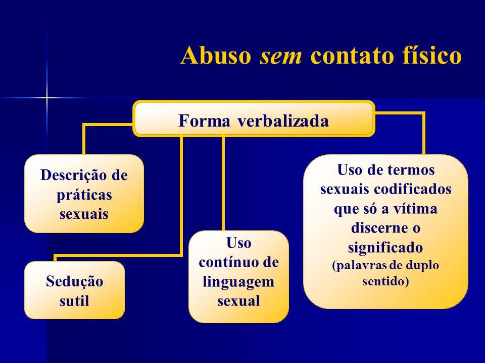 Abuso sem contato físico Forma verbalizada Sedução sutil Descrição de práticas sexuais Uso contínuo de linguagem sexual Uso de termos sexuais codifica