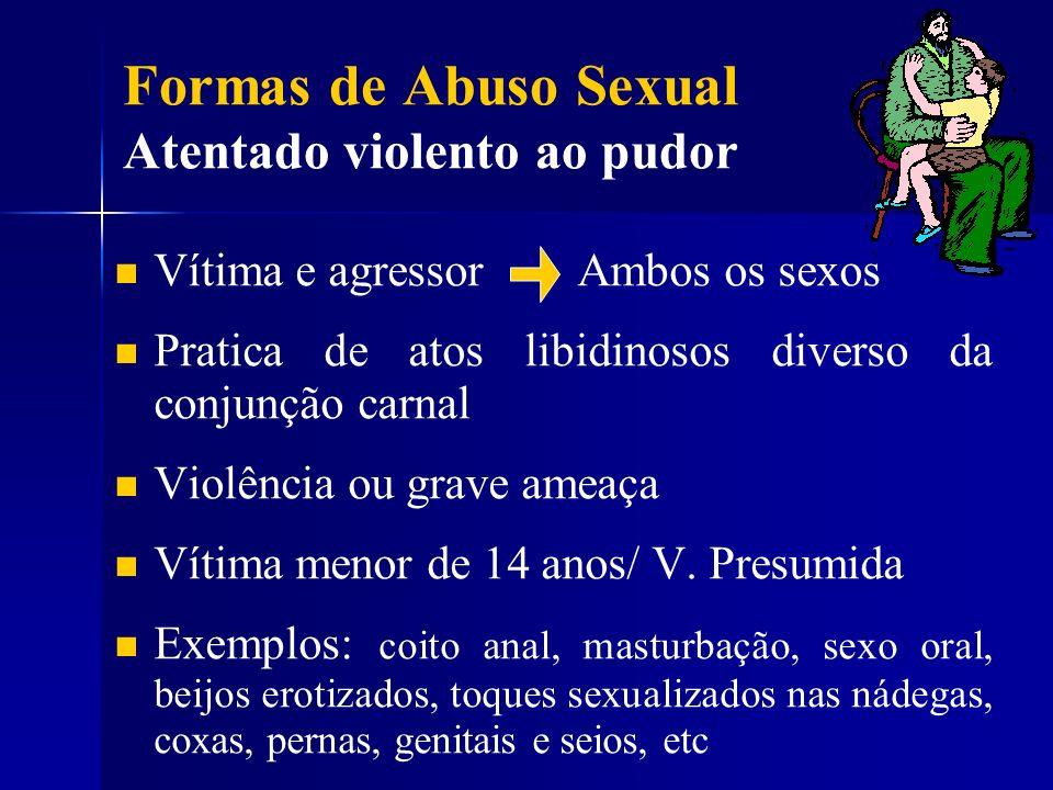 Formas de Abuso Sexual Atentado violento ao pudor Vítima e agressor Ambos os sexos Pratica de atos libidinosos diverso da conjunção carnal Violência o