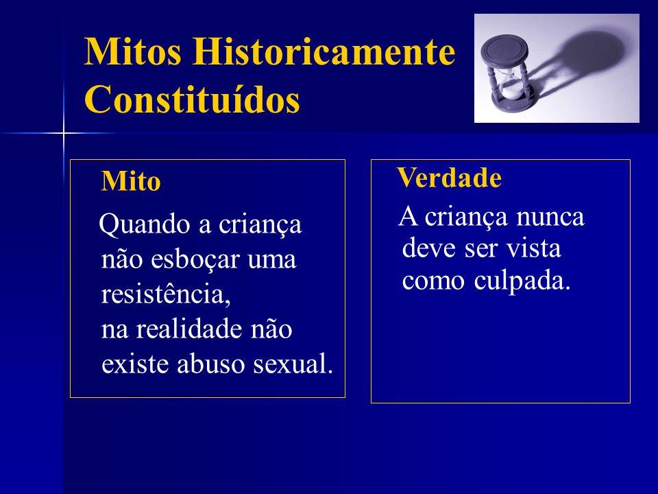 Mitos Historicamente Constituídos Mito Quando a criança não esboçar uma resistência, na realidade não existe abuso sexual. Verdade A criança nunca dev