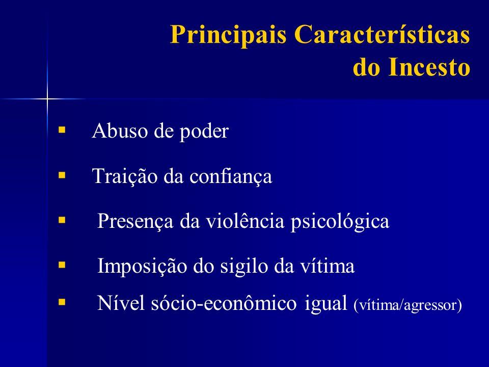 Abuso de poder Traição da confiança Presença da violência psicológica Imposição do sigilo da vítima Nível sócio-econômico igual (vítima/agressor) Prin