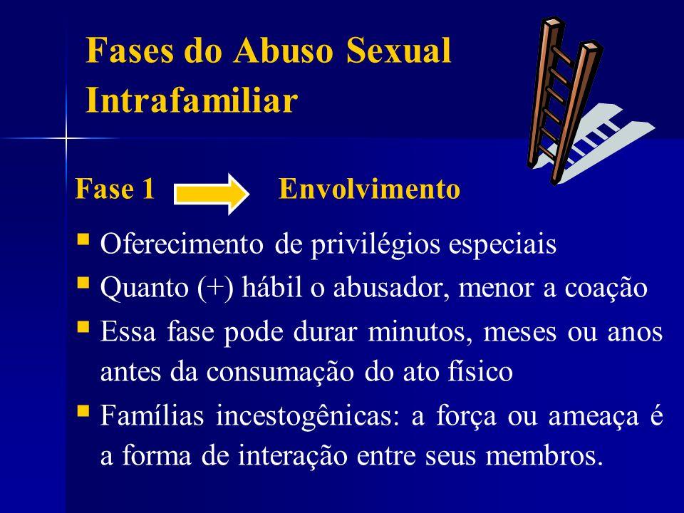 Fases do Abuso Sexual Intrafamiliar Fase 1 Envolvimento Oferecimento de privilégios especiais Quanto (+) hábil o abusador, menor a coação Essa fase po