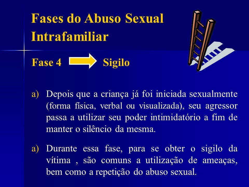 Fase 4 Sigilo a) a)Depois que a criança já foi iniciada sexualmente (forma física, verbal ou visualizada), seu agressor passa a utilizar seu poder int