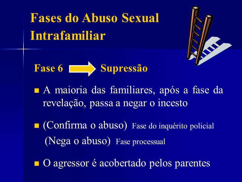 Fase 6 Supressão A maioria das familiares, após a fase da revelação, passa a negar o incesto (Confirma o abuso) Fase do inquérito policial (Nega o abu