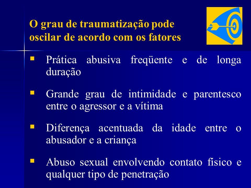 O grau de traumatização pode oscilar de acordo com os fatores Prática abusiva freqüente e de longa duração Grande grau de intimidade e parentesco entr
