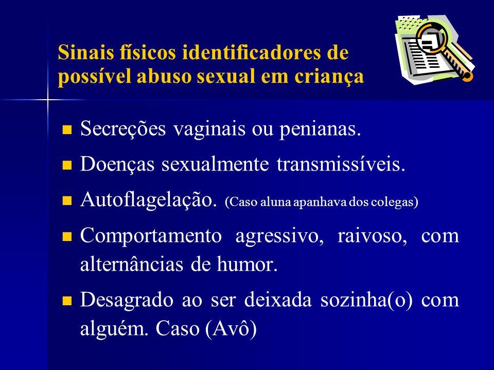 Secreções vaginais ou penianas. Doenças sexualmente transmissíveis. Autoflagelação. (Caso aluna apanhava dos colegas) Comportamento agressivo, raivoso