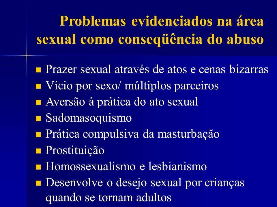 Problemas evidenciados na área sexual como conseqüência do abuso Prazer sexual através de atos e cenas bizarras Vício por sexo/ múltiplos parceiros Av