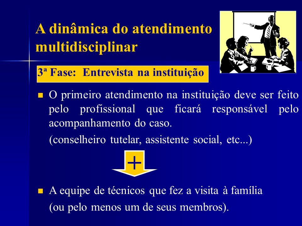 A dinâmica do atendimento multidisciplinar 3ª Fase: Entrevista na instituição O primeiro atendimento na instituição deve ser feito pelo profissional q