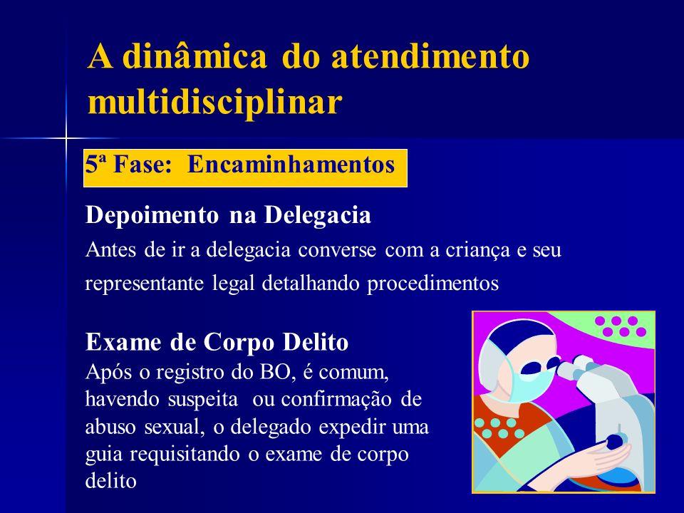 A dinâmica do atendimento multidisciplinar 5ª Fase: Encaminhamentos Depoimento na Delegacia Antes de ir a delegacia converse com a criança e seu repre