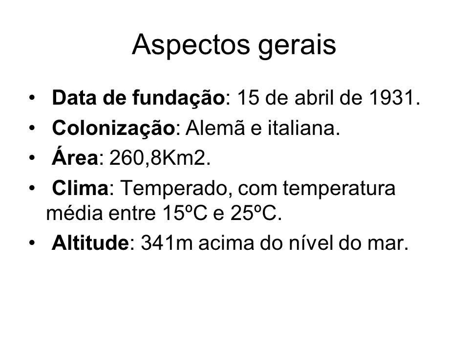 Aspectos gerais Data de fundação: 15 de abril de 1931. Colonização: Alemã e italiana. Área: 260,8Km2. Clima: Temperado, com temperatura média entre 15